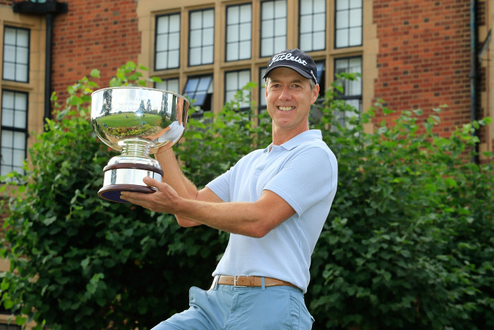 WARE, ENGLAND - AUGUST 28: Gary Marks of England poses with the trophy after the final round of the Willow Senior Golf Classic played at Hanbury Manor Marriott Hotel & Country Club on August 28, 2016 in Ware, United Kingdom. (Photo by Phil Inglis/Getty Images)