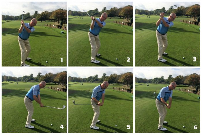 Club position at the top of the backswing
