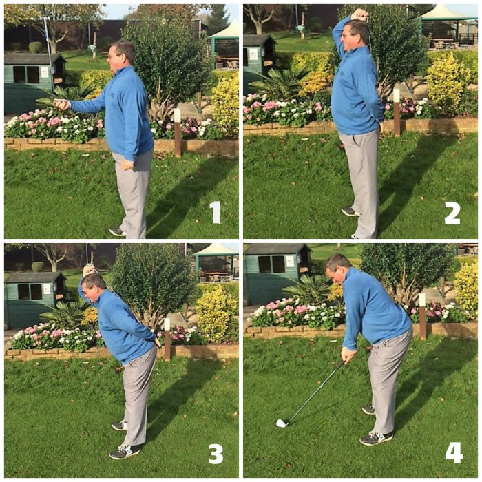 Posture when setting up to play a golf shot